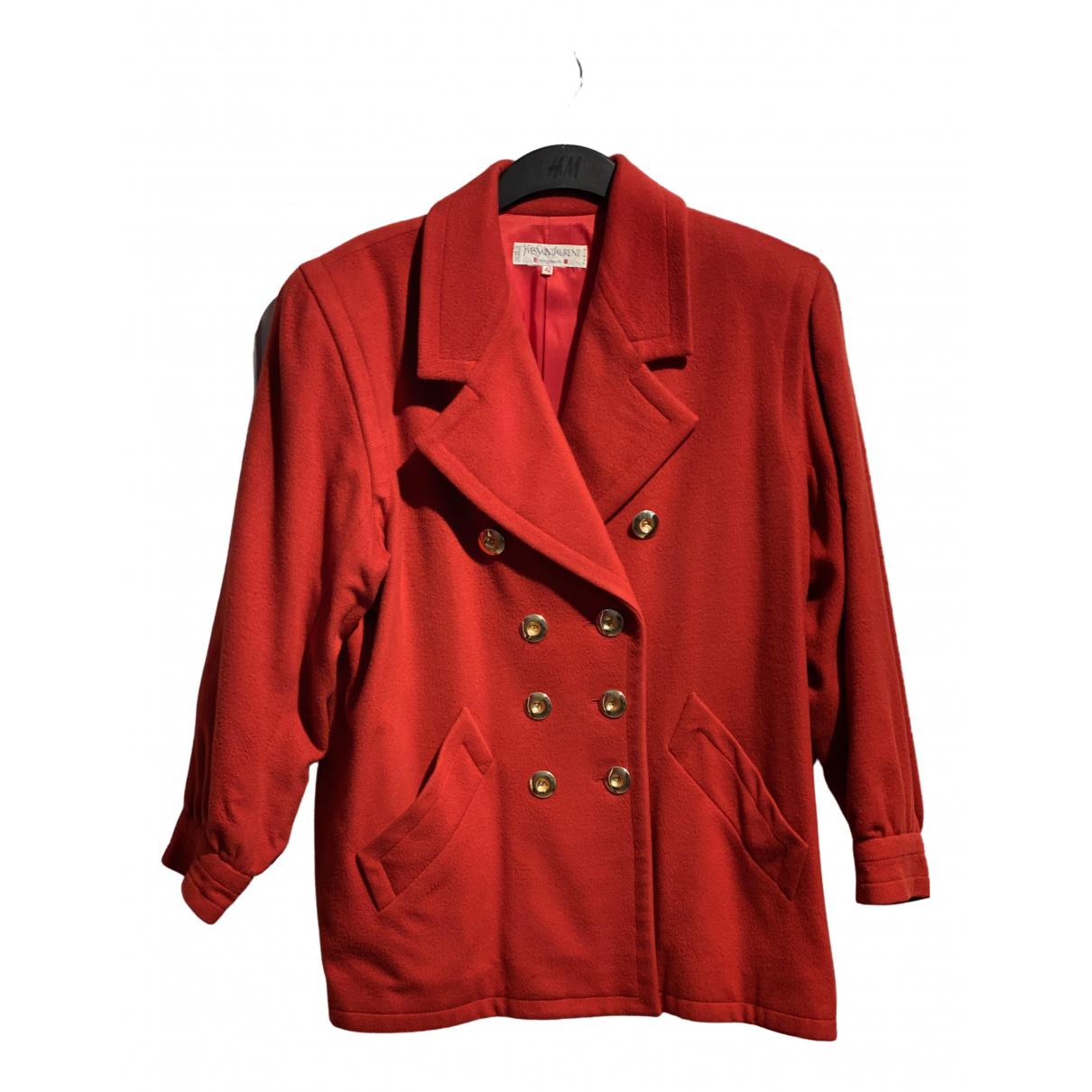 Yves Saint Laurent \N Maentel in  Rot Wolle