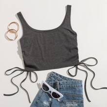 Drawstring Side Rib-knit Tank Top