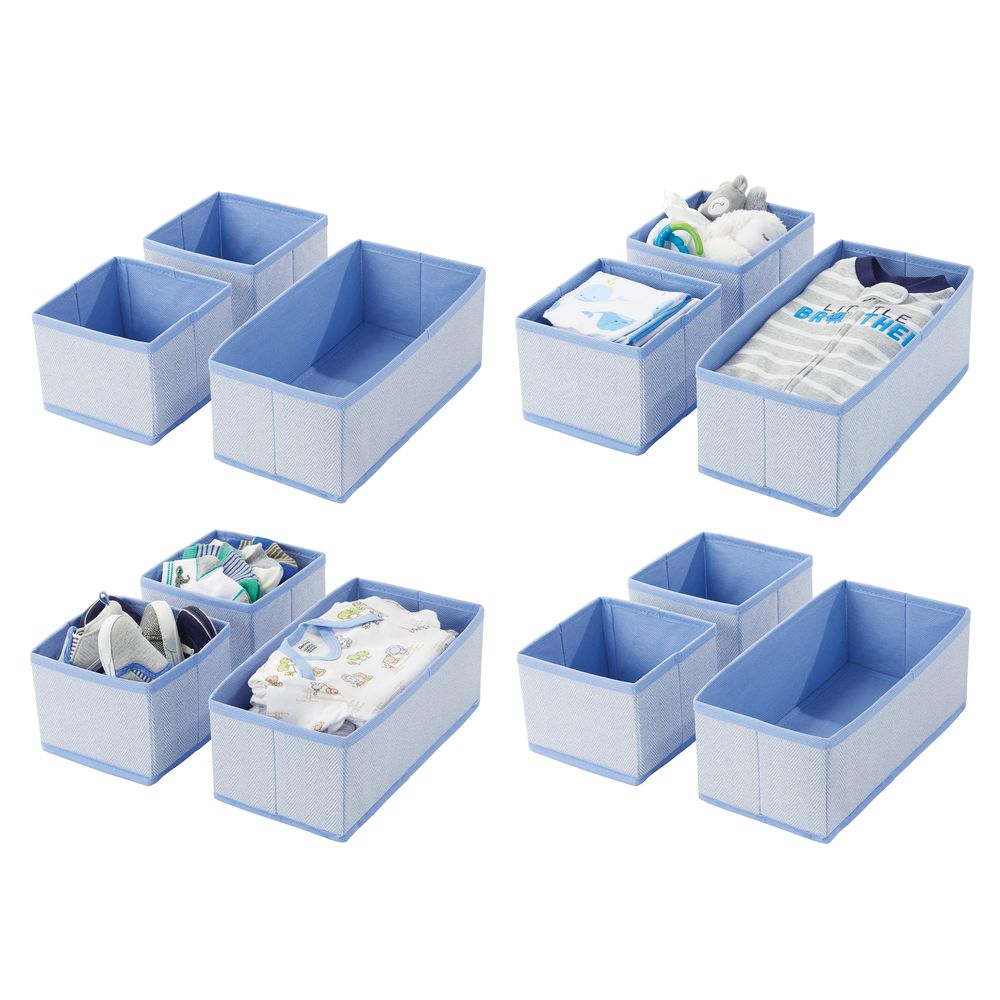 Baby + Kids Fabric Drawer Storage Organizers in Blue, Set of 12, by mDesign