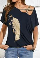 Presale - Feather Birds Criss-Cross Blouse - Navy Blue