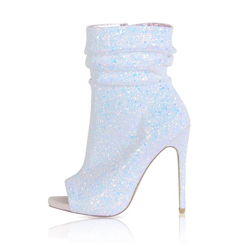 Ericdress Rhinestone Peep Toe Stiletto Heel Women's Boots