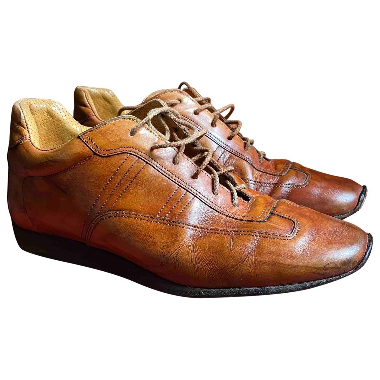 Santoni - Baskets   pour homme en cuir - marron
