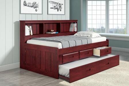 1222-TM_2892-EKT_2890-TM Twin Daybed Bookcase Captains Bed With 3 Drawer Storage And Twin Trundle in Merlot
