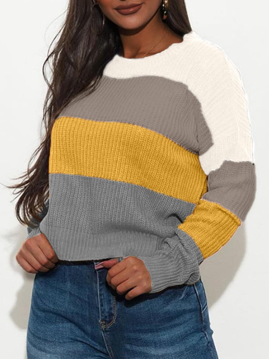 LW Lovely Stylish O Neck Patchwork White Sweater