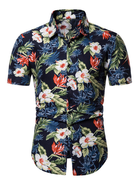 Milanoo Men Floral Shirt Print Navy Blue Short Sleeve Beach Shirt