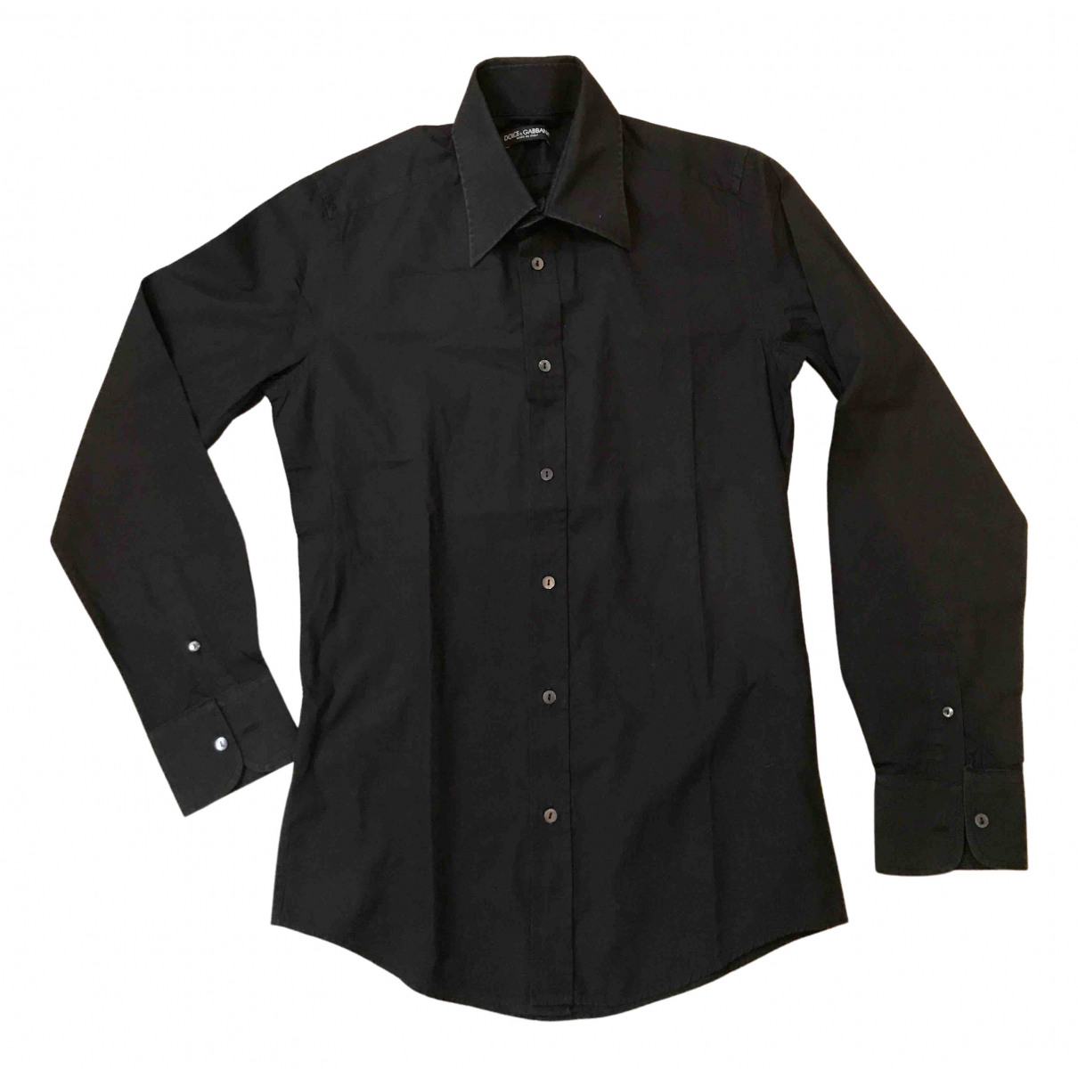 Dolce & Gabbana N Black Cotton Shirts for Men 39 EU (tour de cou / collar)
