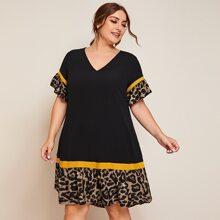 Grosse Grossen - Kleid mit Kontrast Leopard Muster und Raffungsaum
