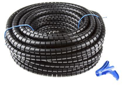 HellermannTyton Spiral Wrap, I.D 20mm 21mm Polypropylene Helawrap Series, Black