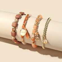 4 Stuecke Armband mit Herzen Anhaenger und Perlen