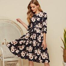 Simple Favor vestido fruncido con estampado floral