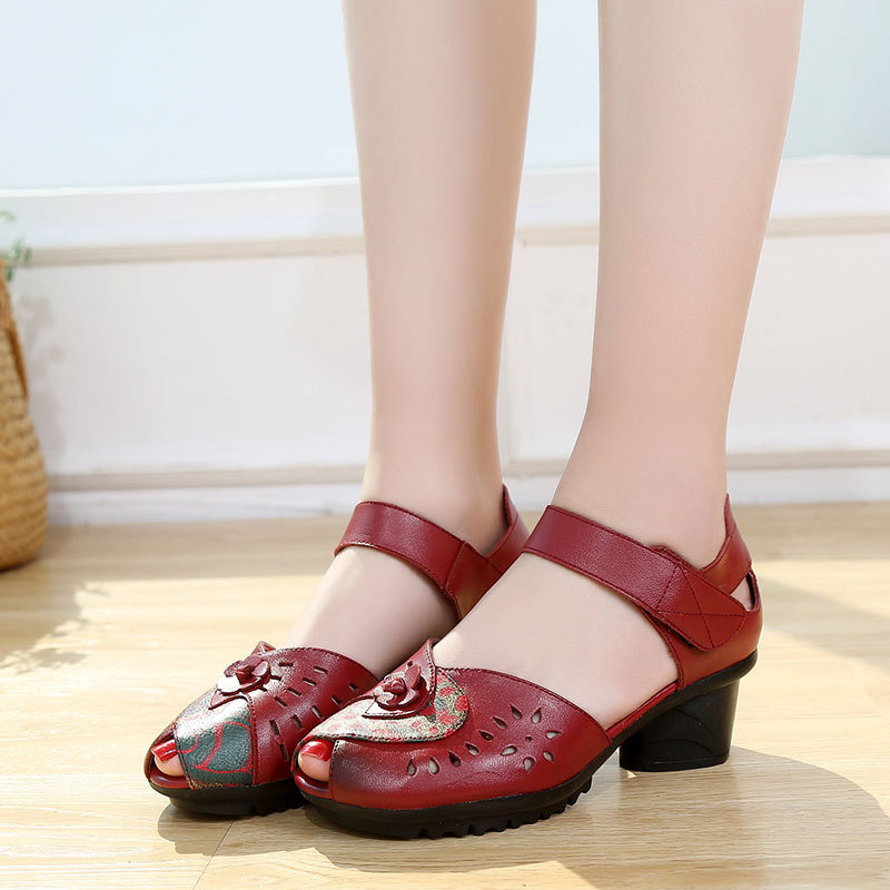 Women Casual Comfy Leather Hollow Hook Loop Open Toe Chunky Heel Sandals