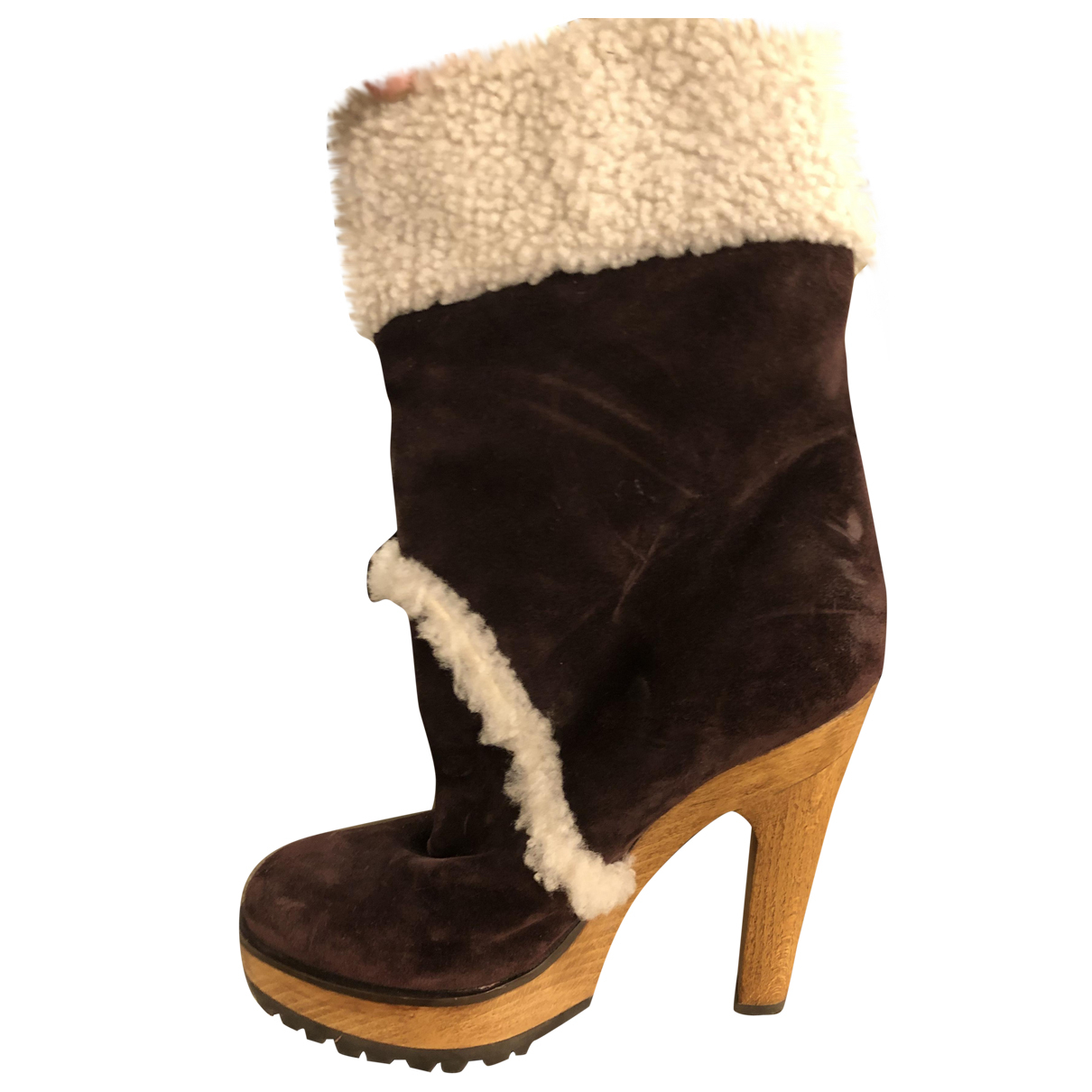 Dolce & Gabbana N Burgundy Suede Ankle boots for Women 36 IT