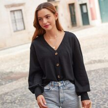Buttoned Placket Lantern Sleeve Waffle Knit Top