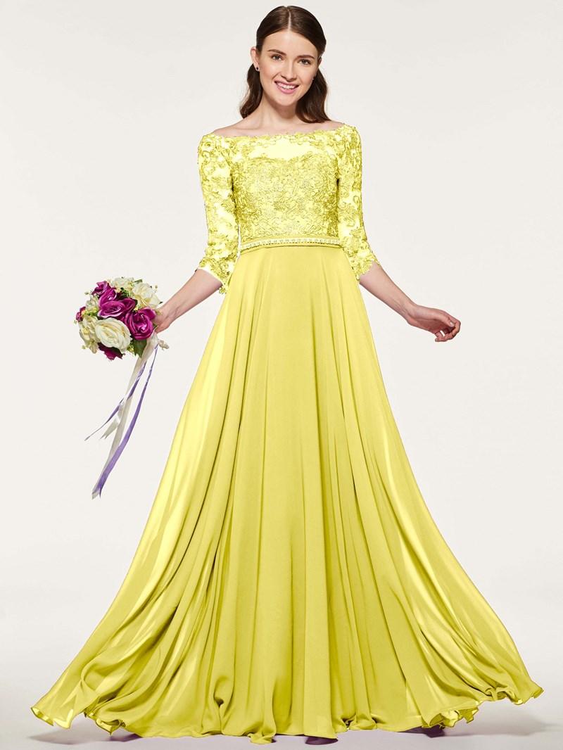 Ericdress Bateau Neck Backless Appliques Bridesmaid Dress