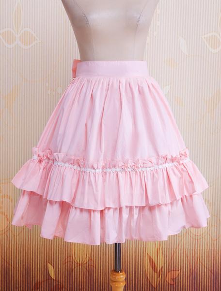 Milanoo Falda para Lolita rosa de algodon con volante fruncido estilo clasico