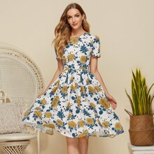 Simple Flavor Floral Print Boxy Pleated Dress