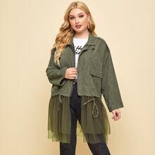 Mantel mit Kontrast Netzstoff, Taschen Klappe und Kordelzug