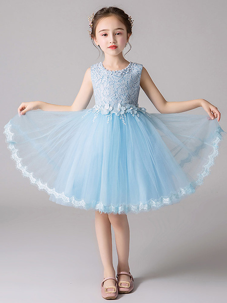 Milanoo Flower Girl Dresses Jewel Neck Tulle Sleeveless Knee Length Princess Silhouette Flowers Formal Kids Pageant Dresses