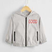 Winddichte Jacke mit Buchstaben Grafik und Reissverschluss
