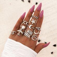 11 piezas anillo con diseño de estrella de mar y concha