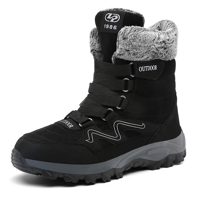 Men Suede Non Slip Warm Lining Hook Loop Outdoor Casual Boots
