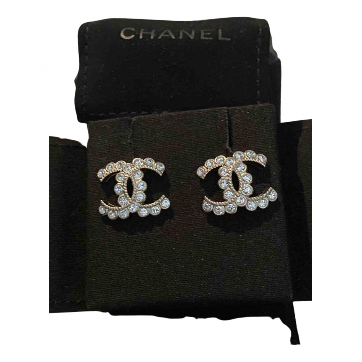 Chanel CC Brosche in  Silber Metall