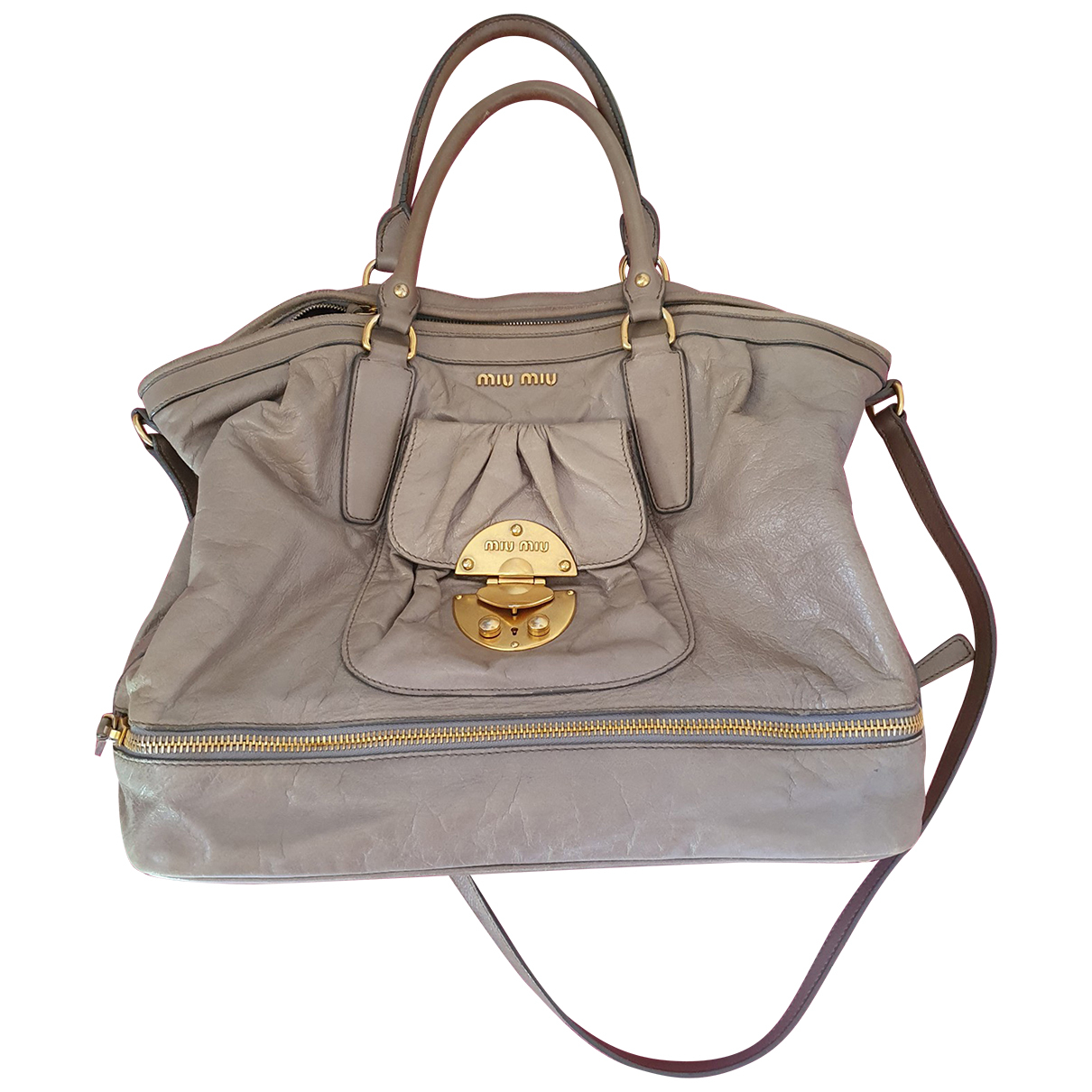 Miu Miu Bow bag Grey Leather handbag for Women N