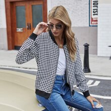 Houndstooth O-ring Zipper Front Bomber Jacket