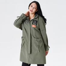 Astrid Plus Letter Graphic Drawstring Hooded Coat