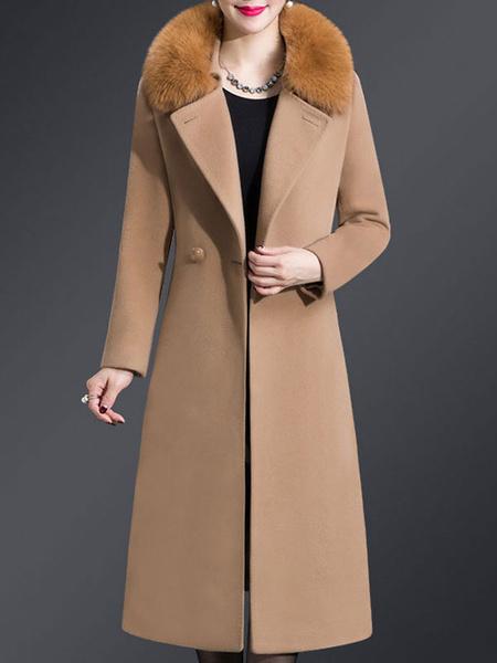 Milanoo Woman Coat Dark Navy Turndown Collar Long Sleeves Buttons Layered Retro Wrap Coat