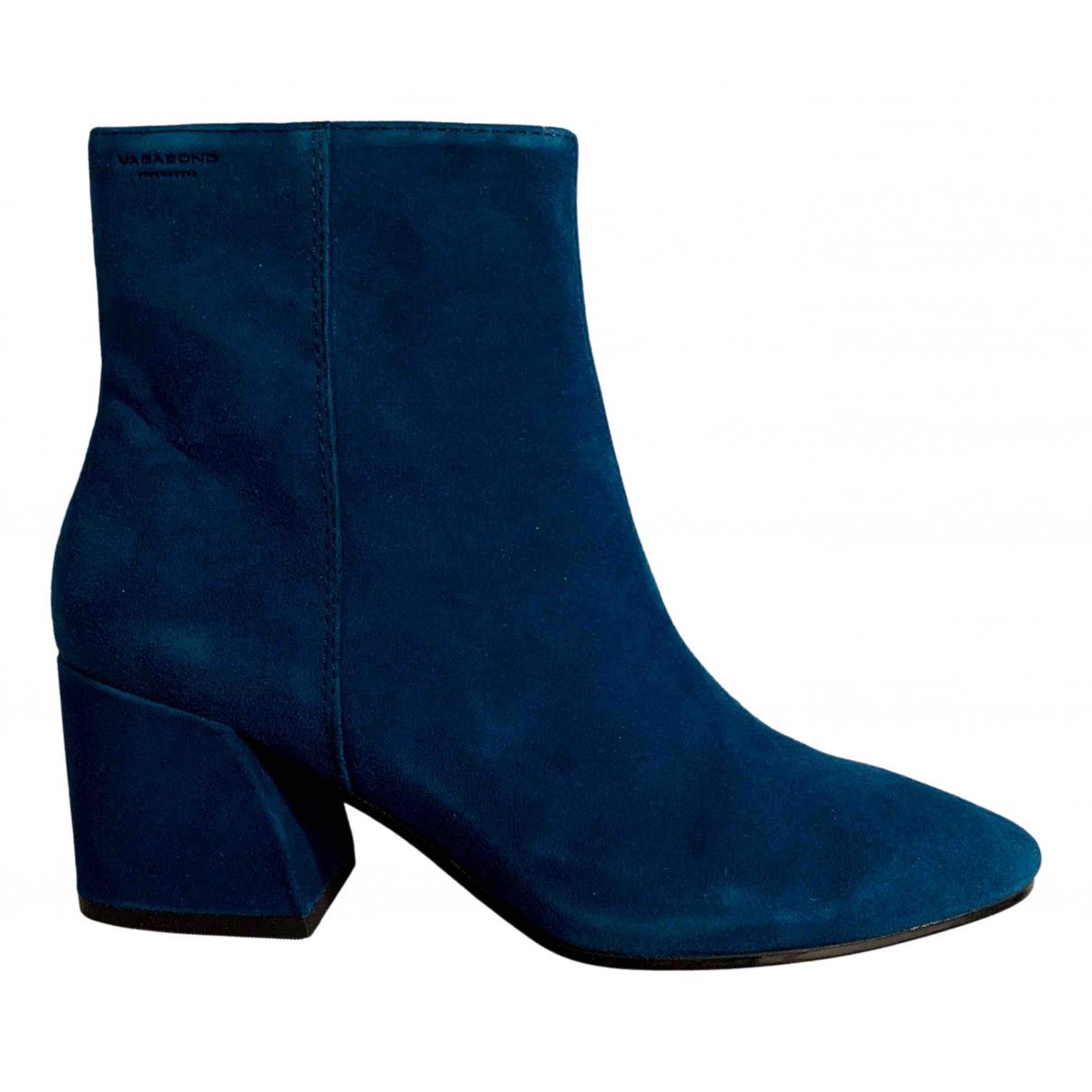 Vagabond - Boots   pour femme en suede - bleu