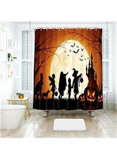 Cartoon Figures And Pumpkin Halloween Scene Pattern Polyester Anti-Bacterial Shower Curtain