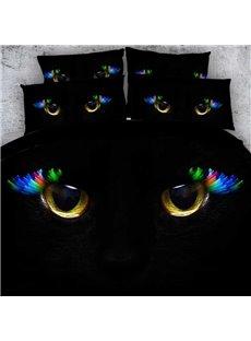 Cat Eyes in the Dark Print 5-Piece Comforter Sets