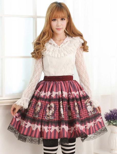 Milanoo Purplish Red Printed Lolita Skirt Polyester Printed Black Lace Trim