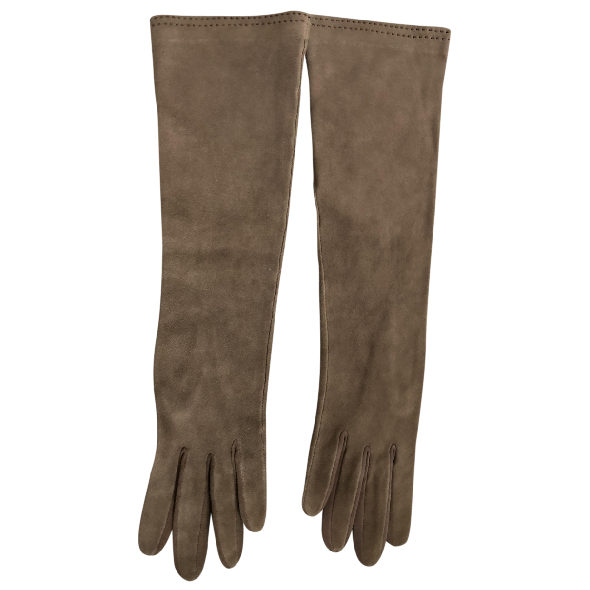 Hermès N Brown Leather Gloves for Women 6.5 Inches