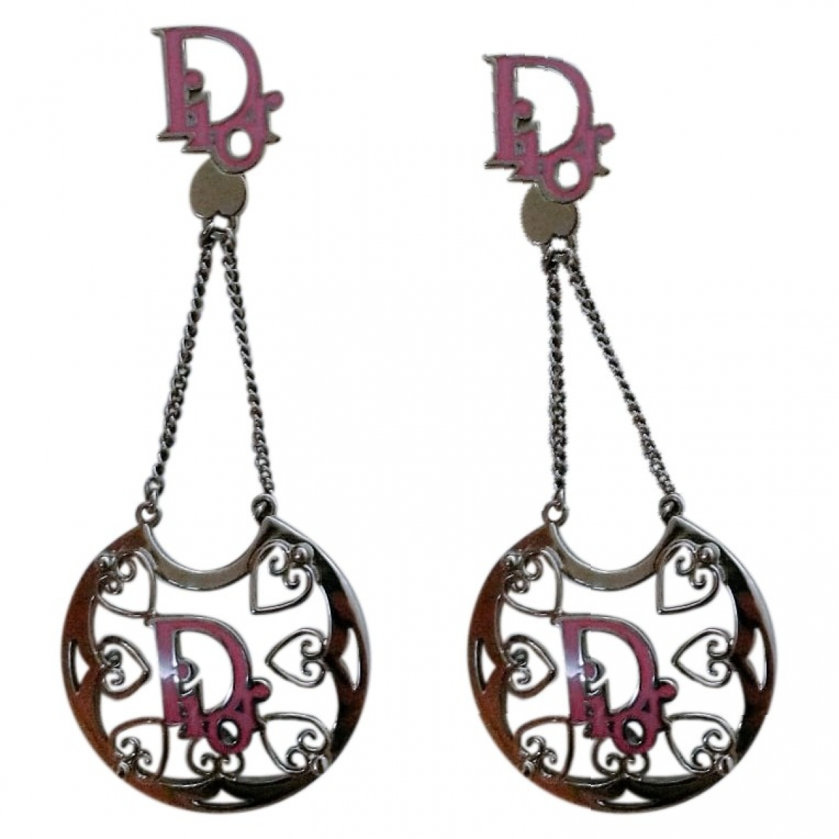 Dior Dior Oblique Pink Silver Earrings for Women \N