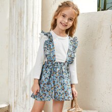 Toddler Girls Solid Tee & Ruffle Trim Suspender Skirt