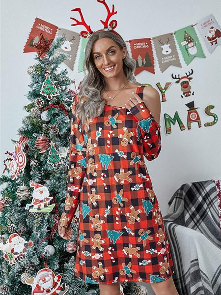 Yoins Christmas Graphic Plaid Long sleeves Mini Dress