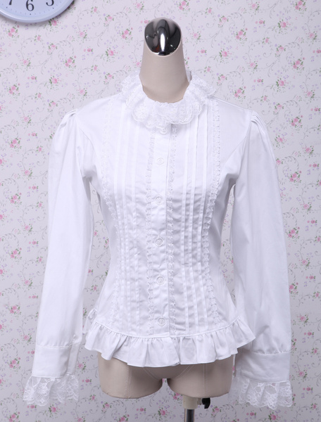 Milanoo White Lace Long Sleeves Lolita Cotton Blouse