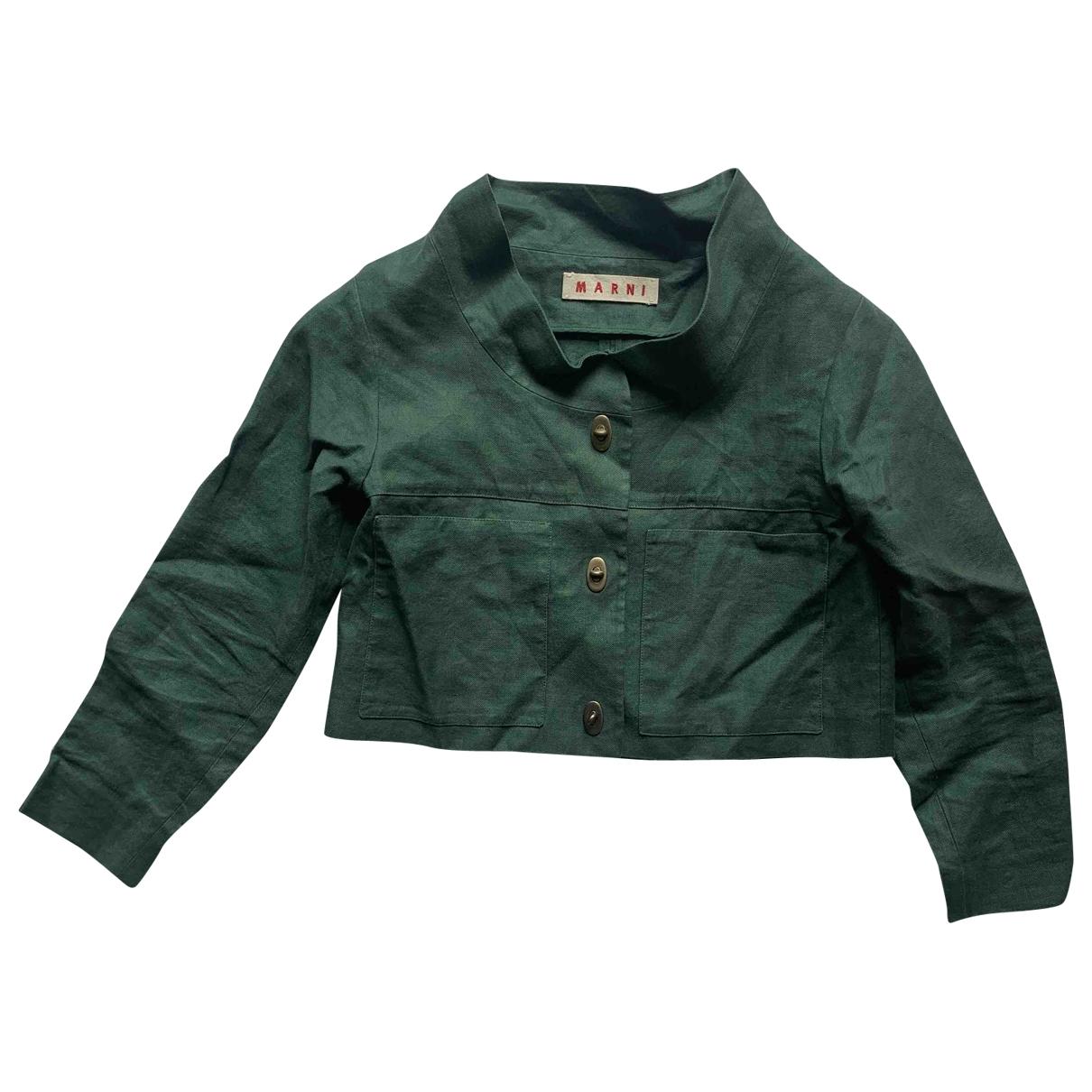 Marni \N Green Linen jacket for Women 38 IT