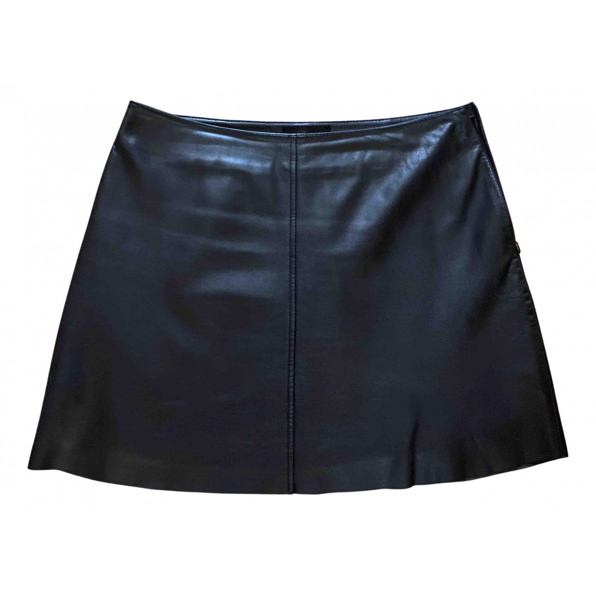 Non Signé / Unsigned N Black Leather skirt for Women 38 FR