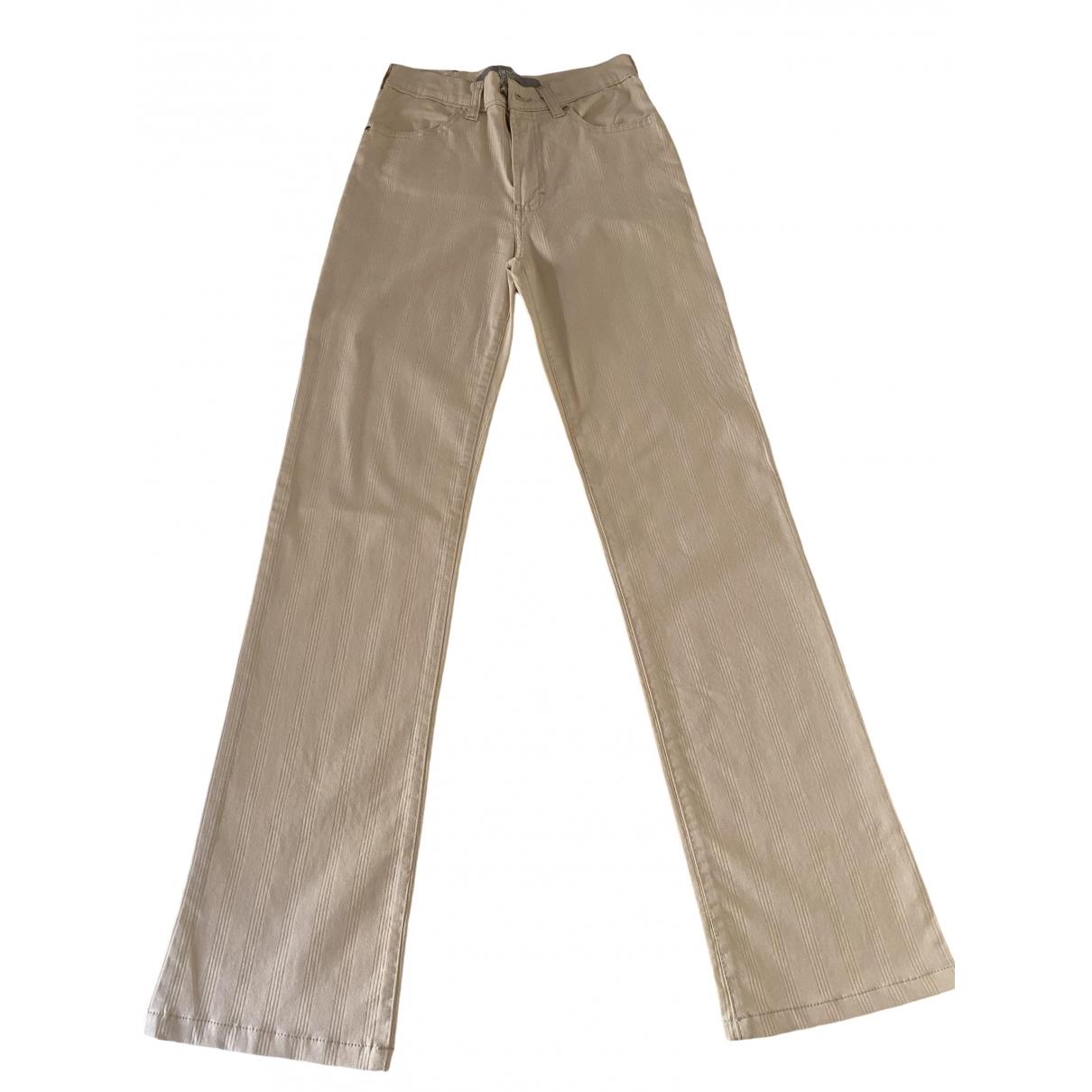 Versace Jeans \N Ecru Cotton Trousers for Women 40 IT