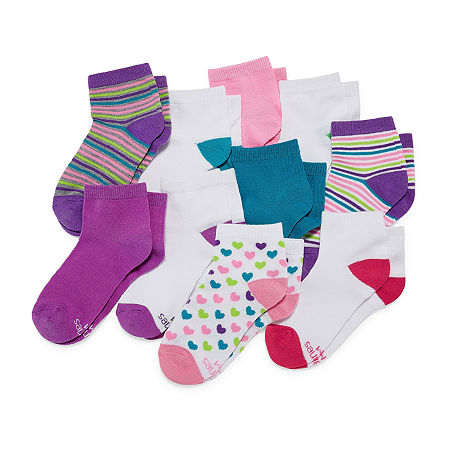 Hanes Big Girls 10 Pair Low Cut Socks, Small , Multiple Colors
