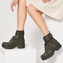 Camo Print Buckled Zip-Up Combat Boots