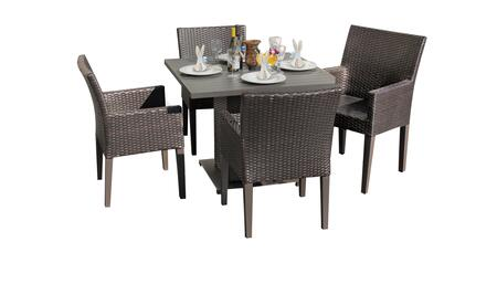 Barbados Collection BARBADOS-SQUARE-KIT-4DC Patio Dining Set with 1 Table   4 Arm Chairs - No