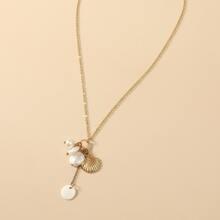 Halskette mit Kunstperlen & Muschel Dekor
