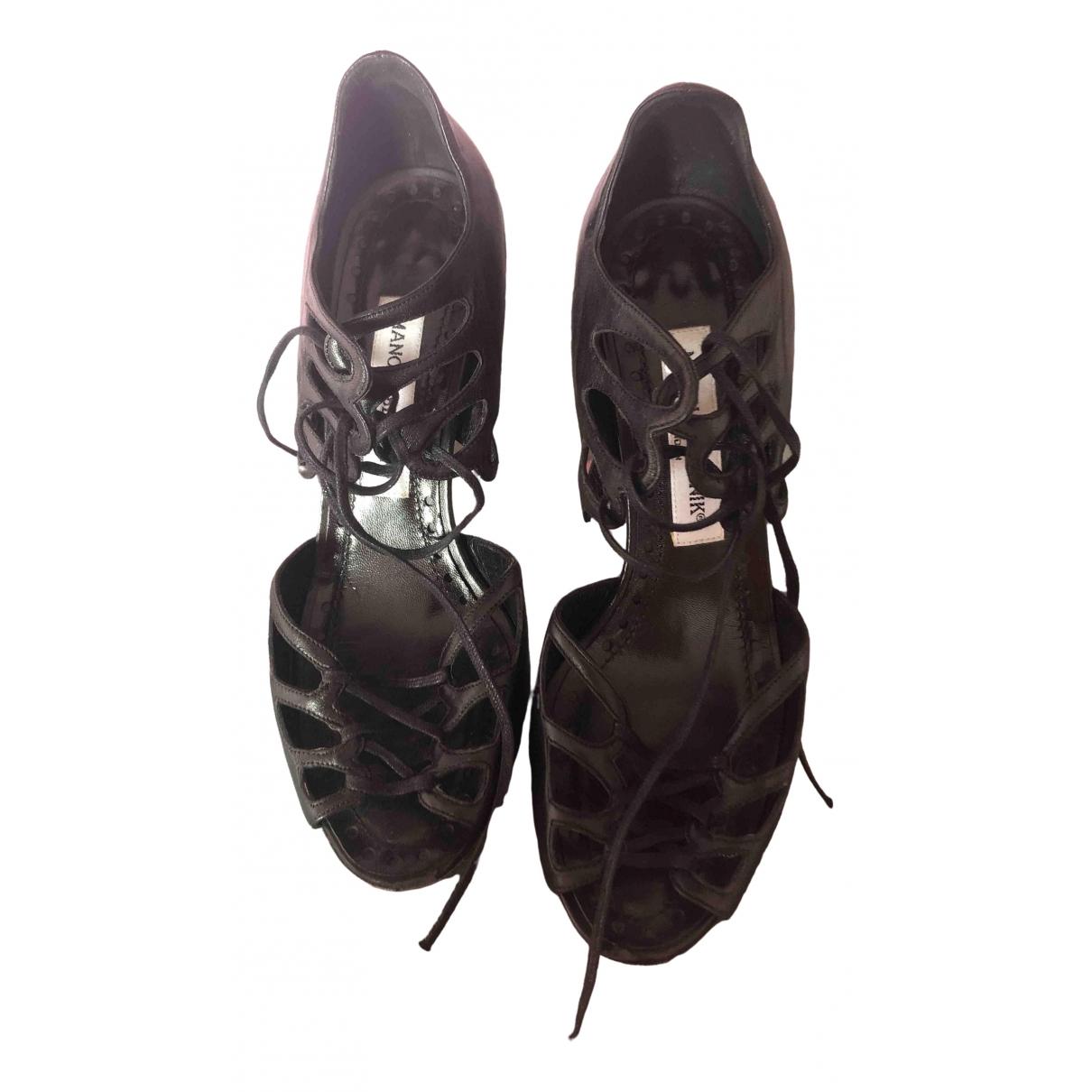 Manolo Blahnik \N Black Leather Sandals for Women 36.5 EU