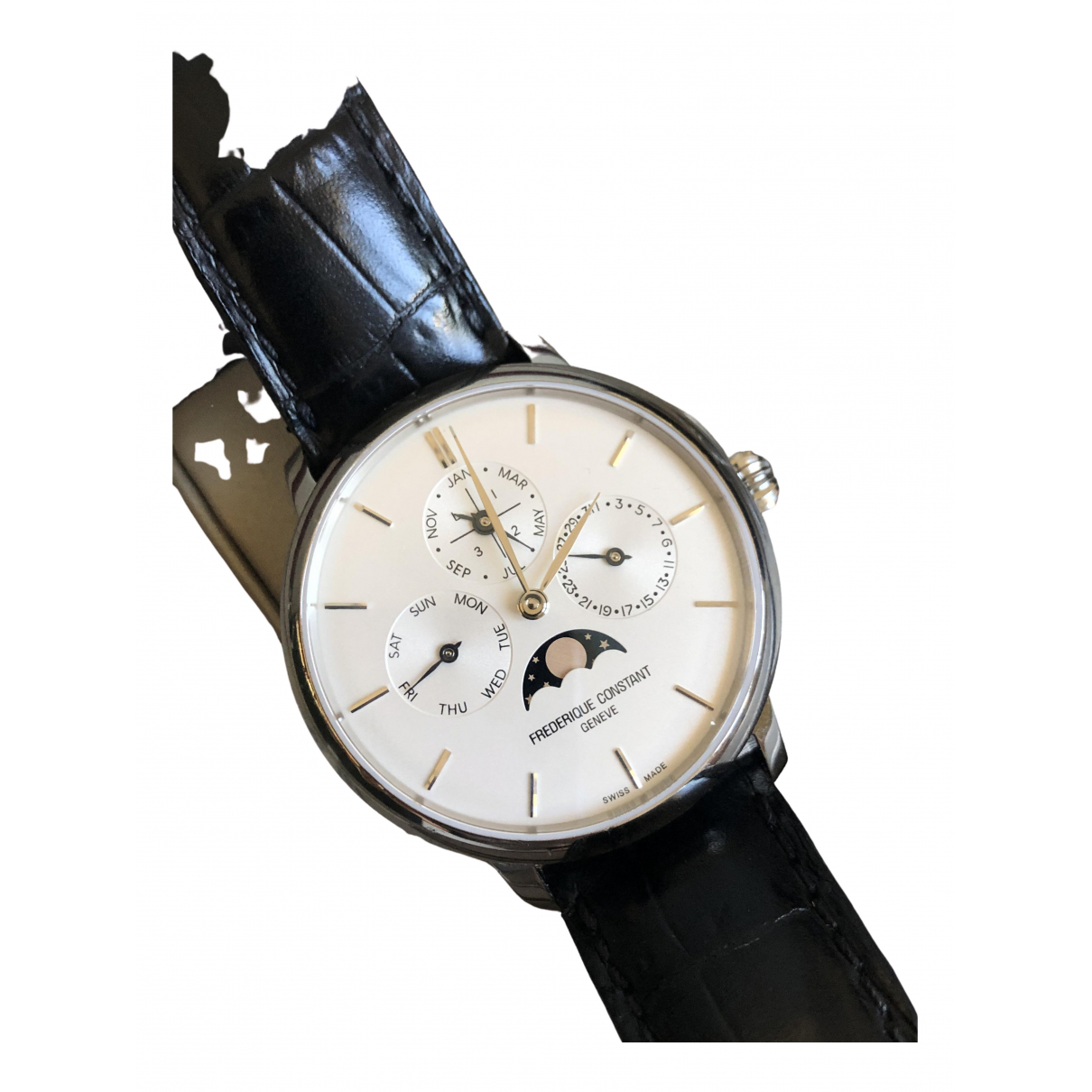 Frederique Constant SlimLine Manufacture Phase de Lune Uhr in  Silber Stahl