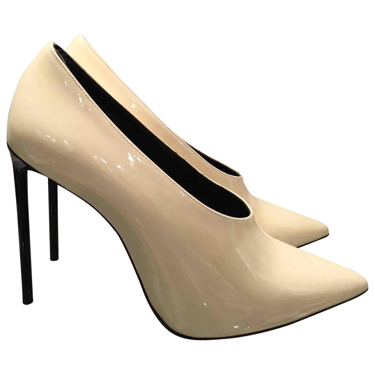 Saint Laurent \N Ecru Patent leather Heels for Women 36.5 EU