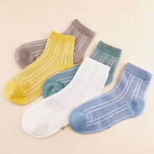 5pairs Toddler Kids Striped Pattern Socks